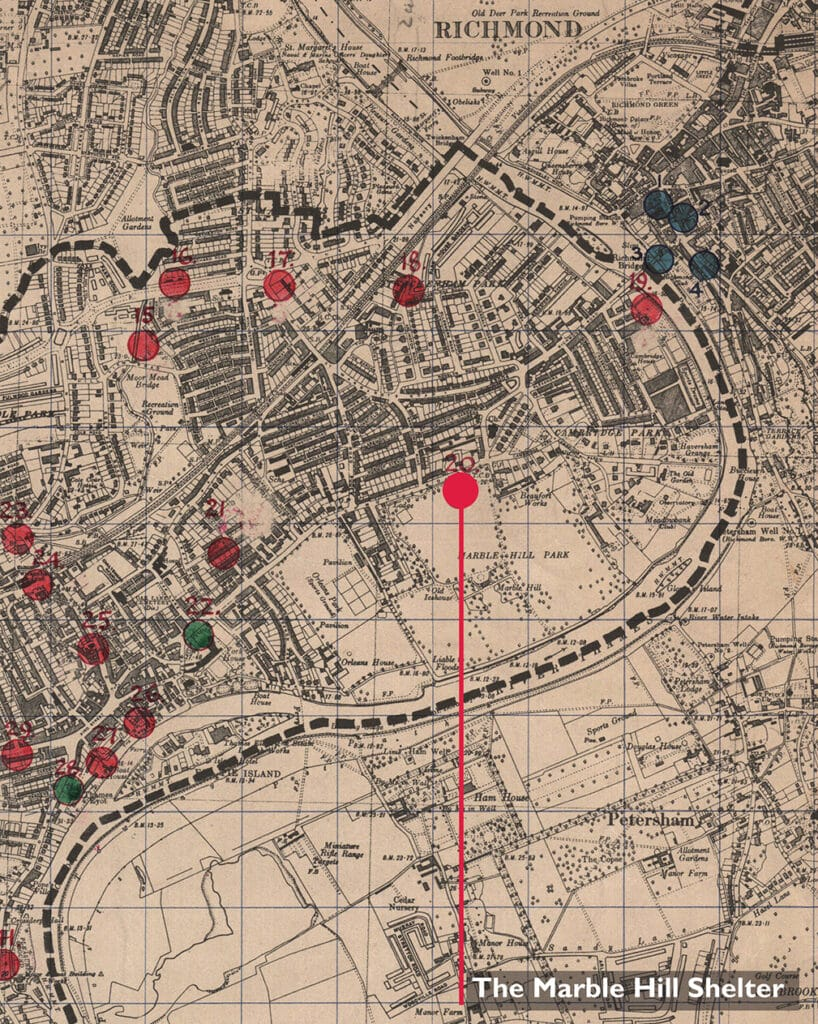 Map of Air Raid Precaution posts and public air raid shelters, 1939. Held by Richmond upon Thames Local Studies Library and Archive.